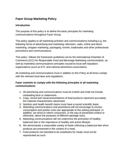 group marketing policy