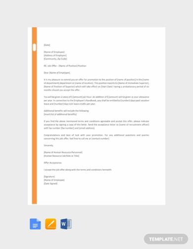 hr promotion letter