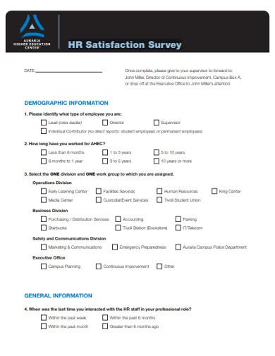 hr satisfaction survey