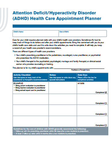 health care appointment planner