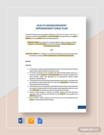 health reimbursement arrangement plan hra template
