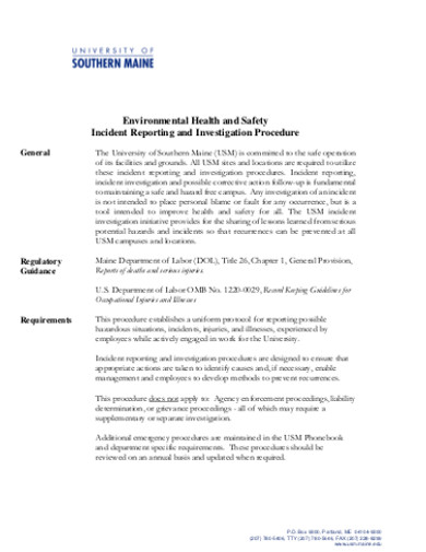 health and safety incident report