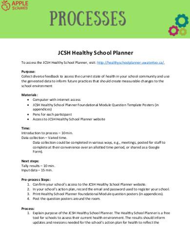 healthy school planner