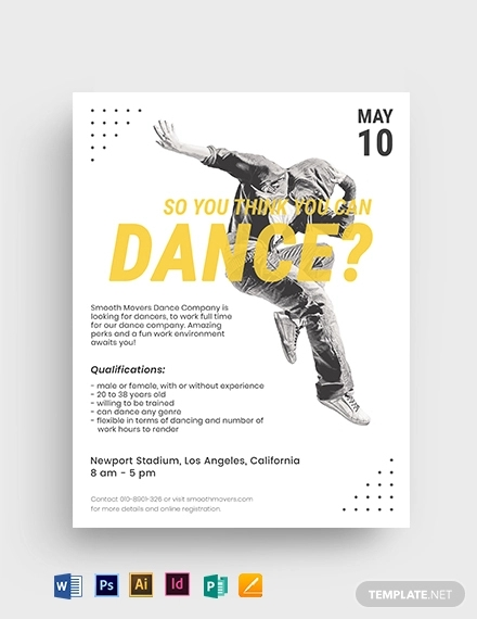 FREE 17+ Best Dance Audition Flyer Examples & Templates