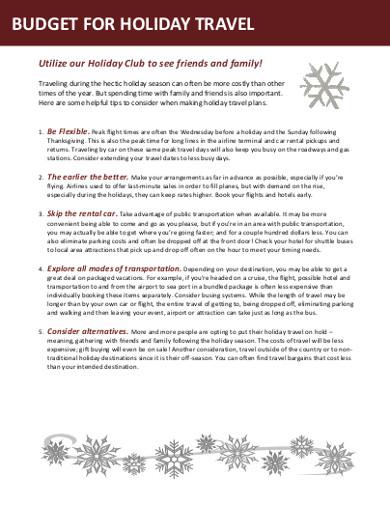 holiday budgert worksheet