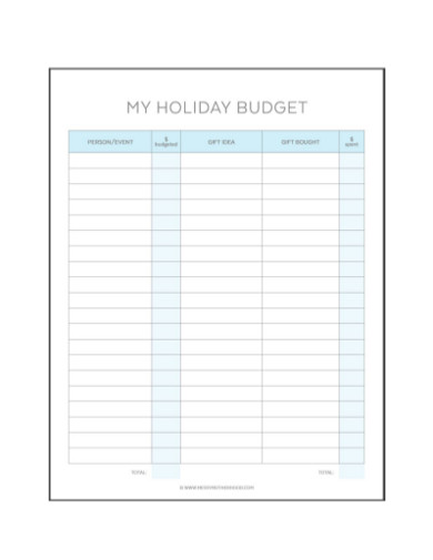 holiday budget in pdf