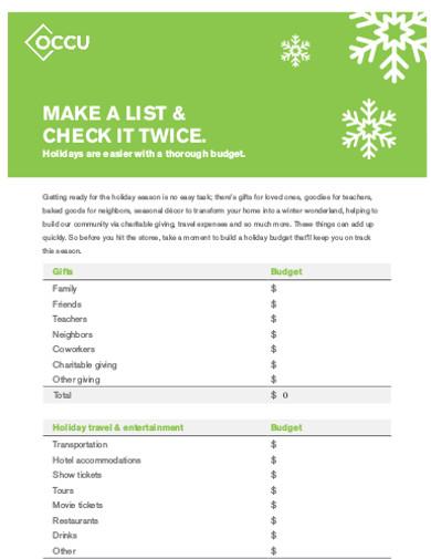 holiday budget sheet