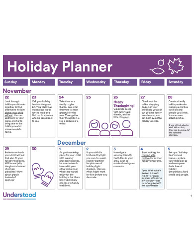 holiday planner example