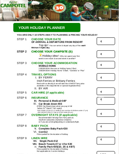 holiday planner simple