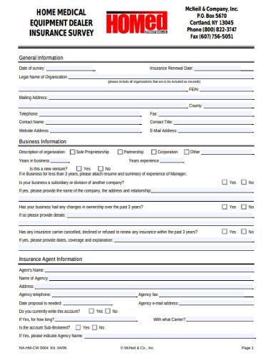 home medical equipment dealer insurance survey
