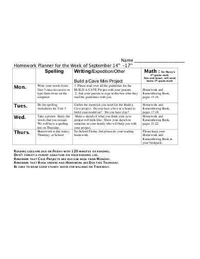 homework planner for the week
