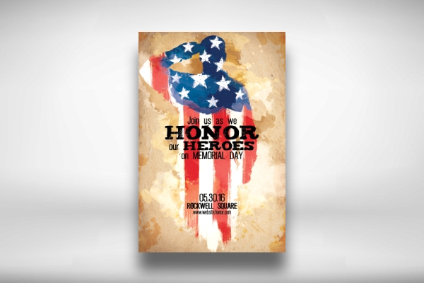 honor minimalist memorial day flyer