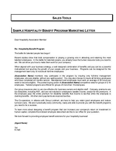 hospitality marketing letter