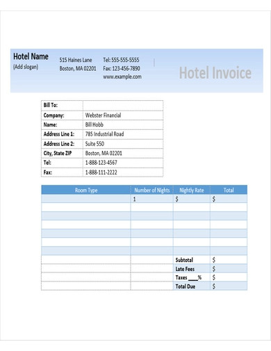 hotel invoice sample