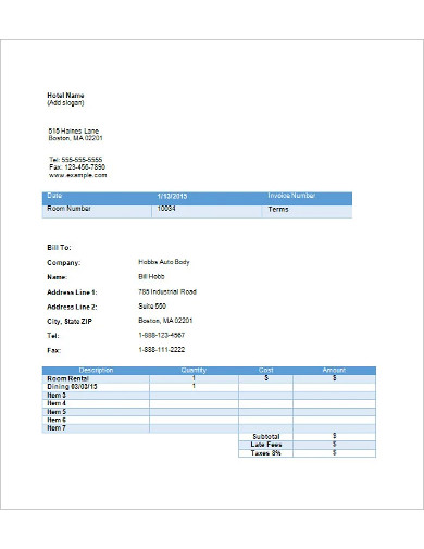 hotel invoice template in word