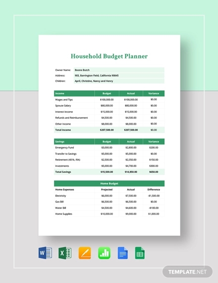 household budget planner template1