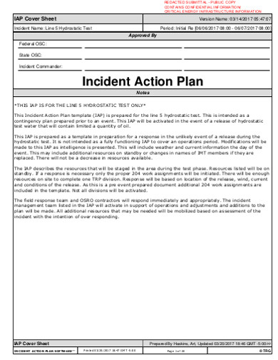 incident action plan example