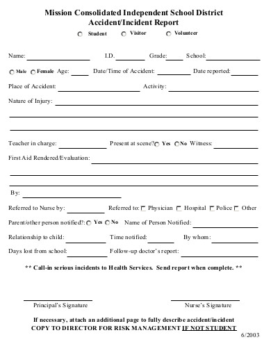 independent school volunteer incident report form