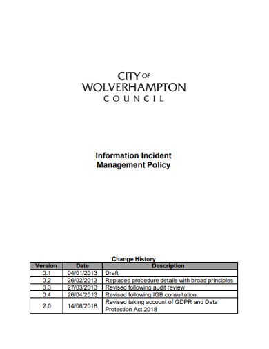 information incident management policy