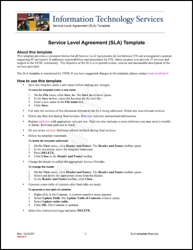 information technology service level agreement 1