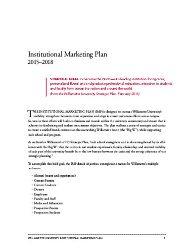 institutional marketing work plan