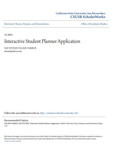 interactive student planner application