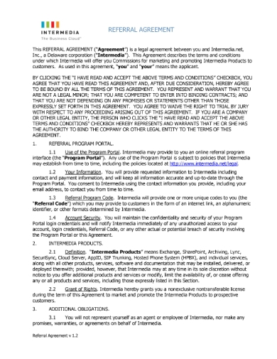 intermedia referral agreement