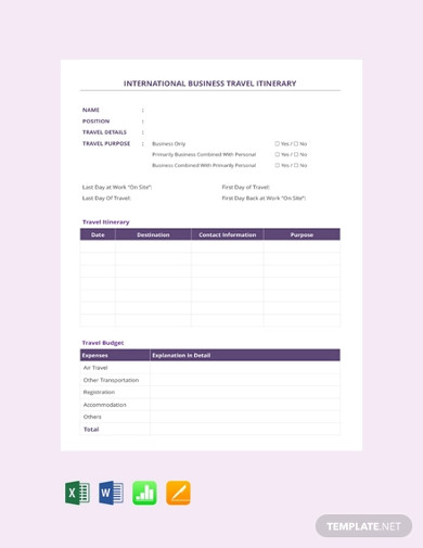 international business travel itinerary template
