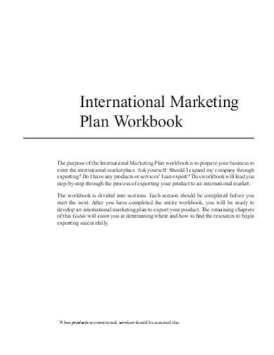 international marketing plan workbook