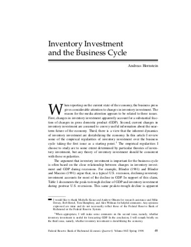inventory investment business cycle