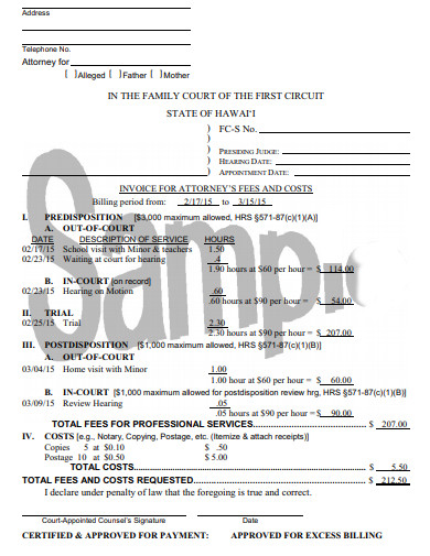 invoice for attorney fees