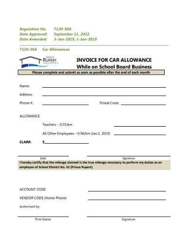 invoice for car allowance