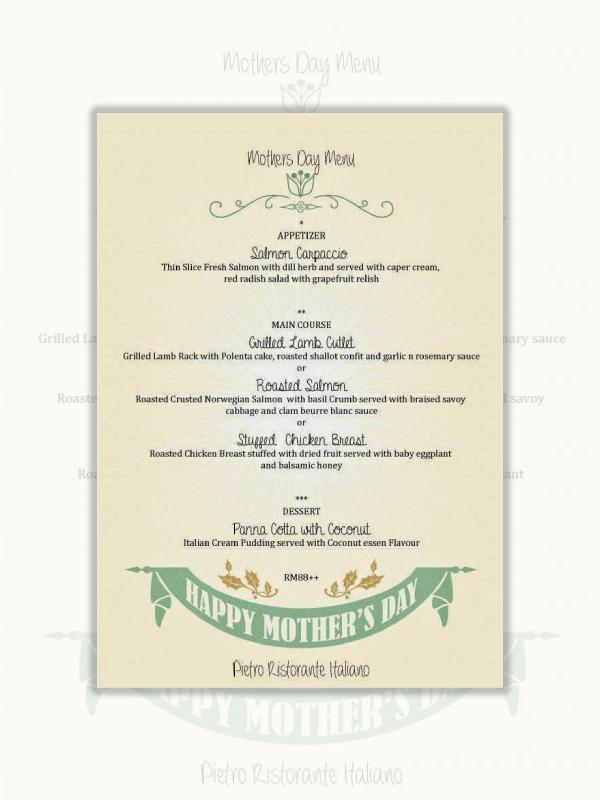 italian restaurant mothers day menu