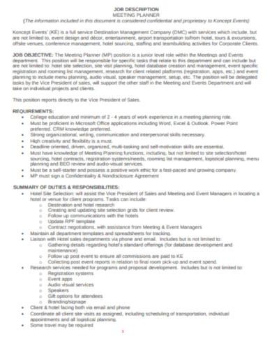 job description meeting planner