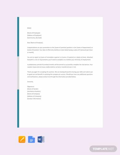 job promotion letter