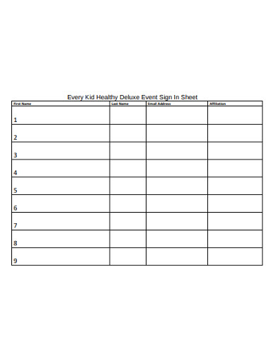 kid healthy deluxe event sign in sheet