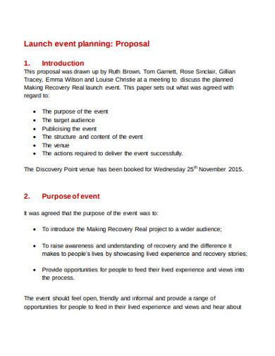 launch event planning proposal