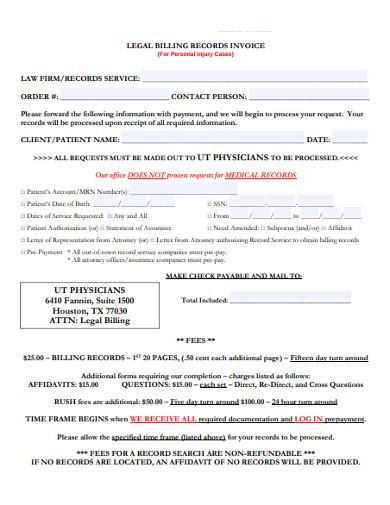 legal billing records invoice
