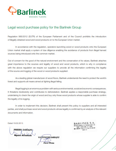 legal wood purchase policy