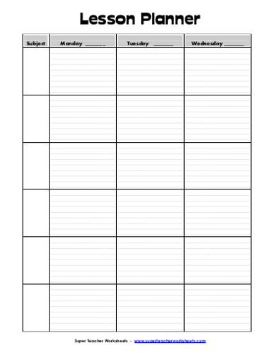 lesson planner sample