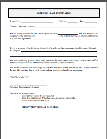 letter on lease termination