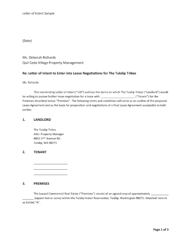letter of intent to enter lease negotiations