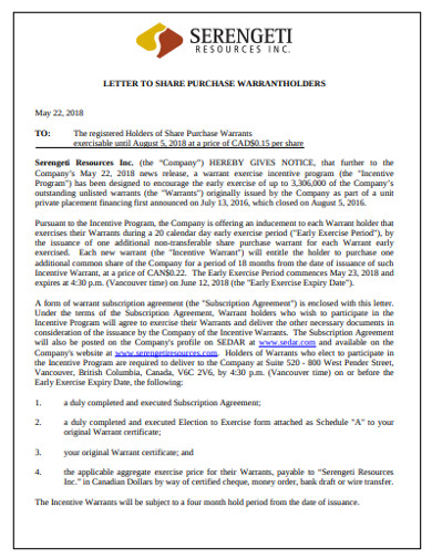 letter to share purchase warrant holder