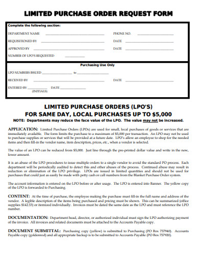 limited purchase order request form
