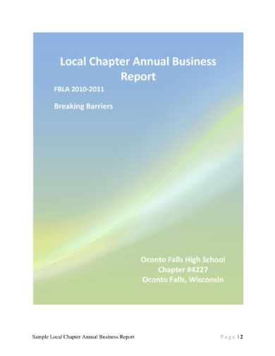 local chapter annual business report