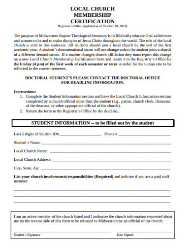 local church membership certification form