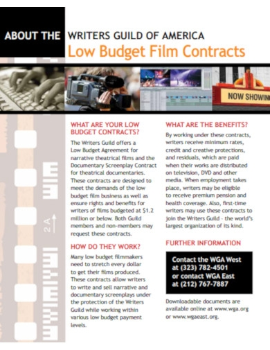 low budget film contracts