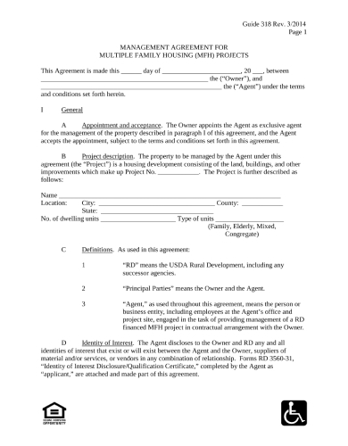 management agreement for multiple family housing mfh projects
