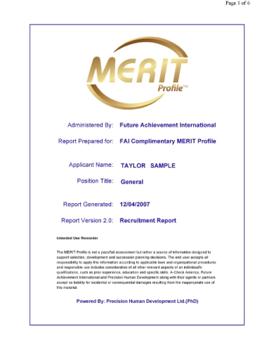 merit recruitment report