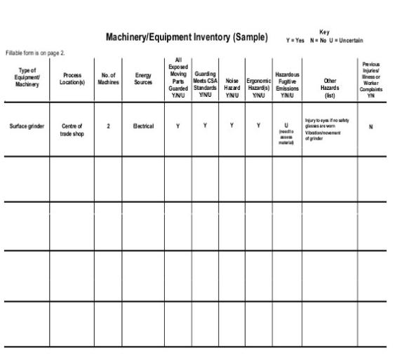 machinery equipment inventory